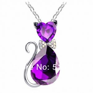 Cat pendant necklace with purple crystal charm - silver chain