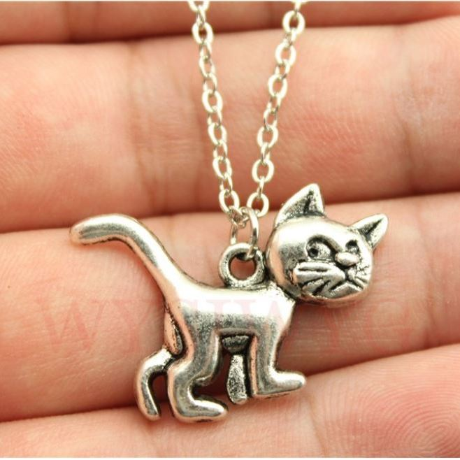 Cat pendant necklace in vintage antique silver