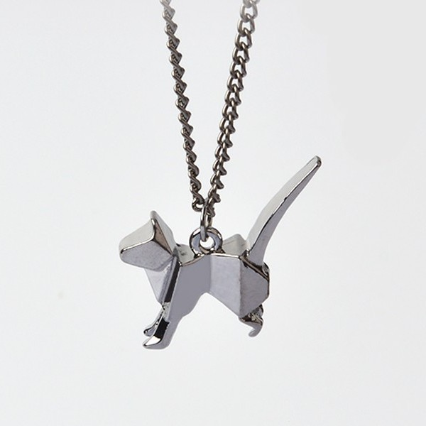 Origami cat pendant necklace - dark grey