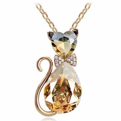Cat pendant necklace with crystal charm
