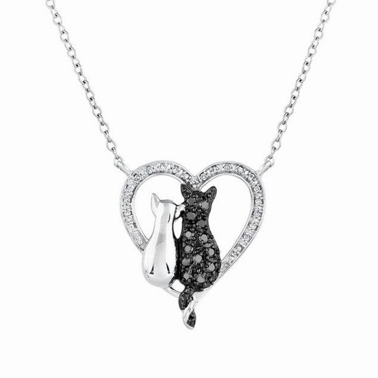 Black and white cats with crystals pendant necklace