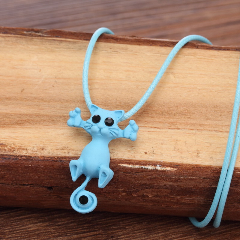 Kitty pendant necklace - turquoise