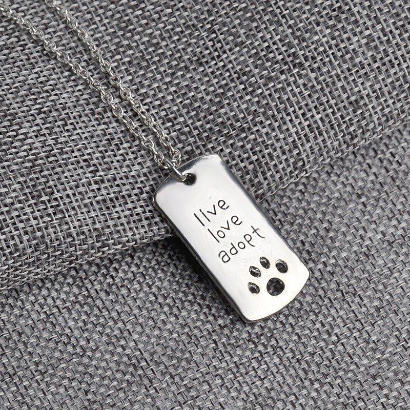 """Live love adopt"" rectangular pendant necklace"