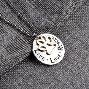 """Live love rescue"" pendant necklace with paw-print"