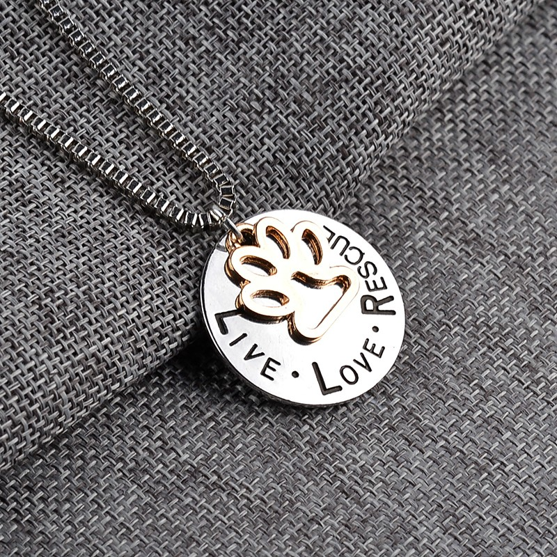 """""""Live love rescue"""" pendant necklace with paw-print"""