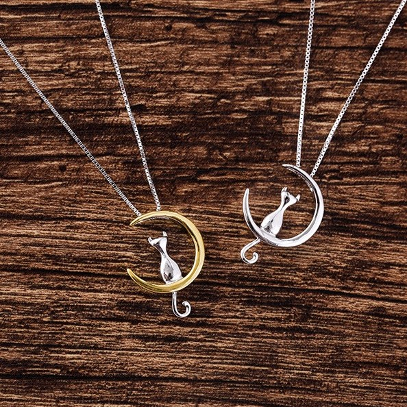 Cat in silver and gold moon pendant necklace