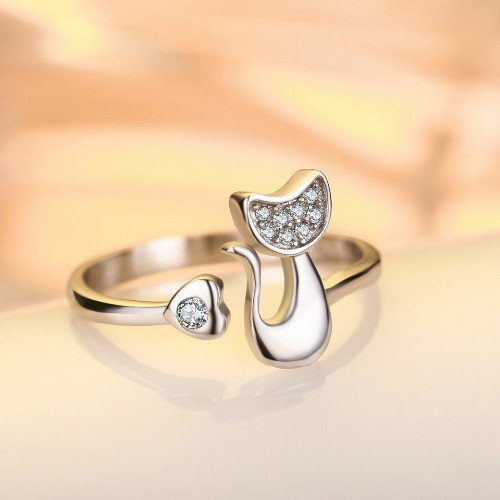 Silver-plated cat & love-heart ring