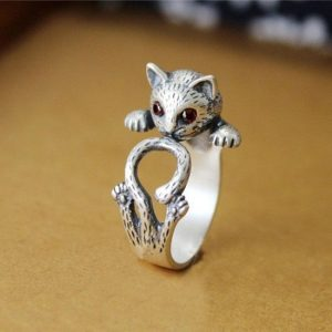 Antique silver-plated cat ring