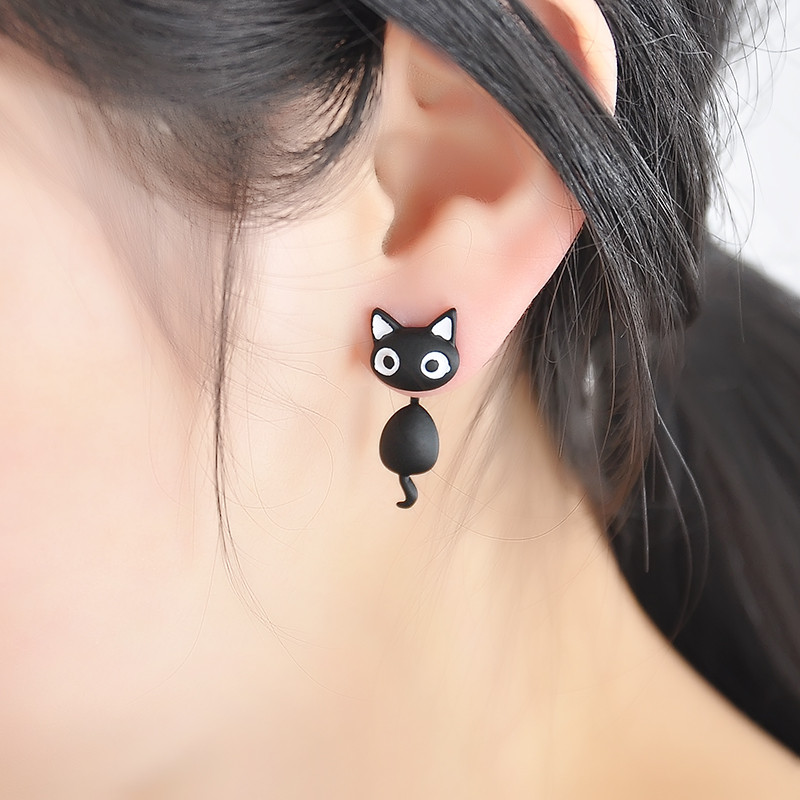 Kitty two-part clay stud earrings