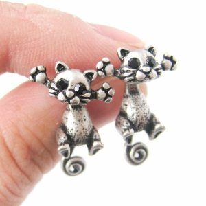 Antique silver-plated cat two-part stud earrings