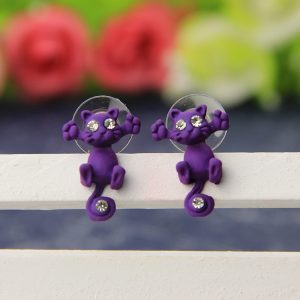 Kitty two-part clay stud earrings - purple