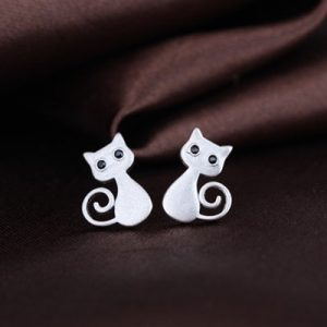 Silver-plated kitty earrings