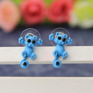 Kitty two-part clay stud earrings - turquoise