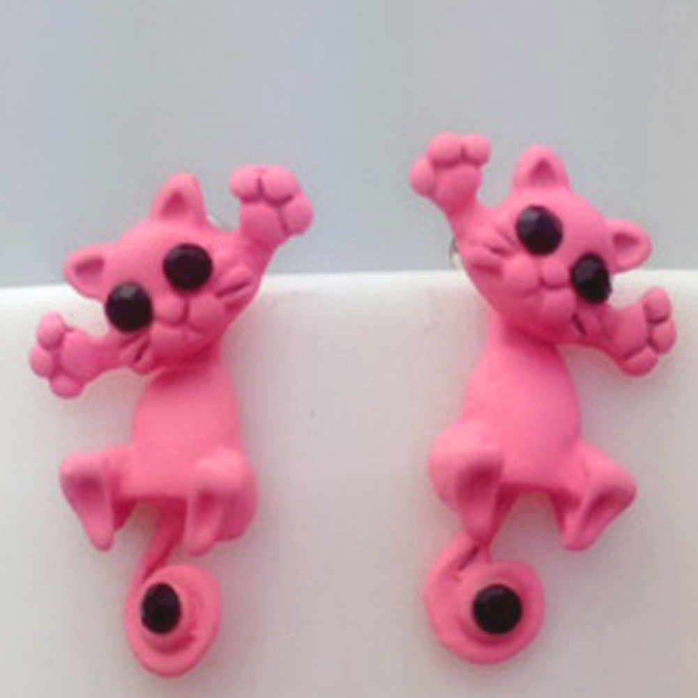 Kitty two-part clay stud earrings - pink
