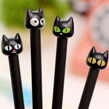 Black-cat gel pens - set of 4
