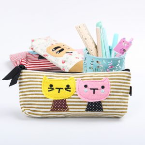 Kitties on striped pencil case - yellow