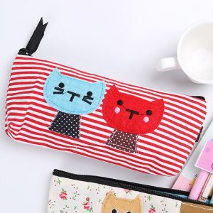 Kitties on striped pencil case - red