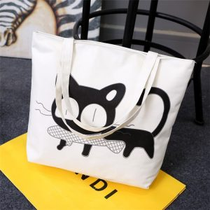 """Cat and fish"" print canvas tote bag"