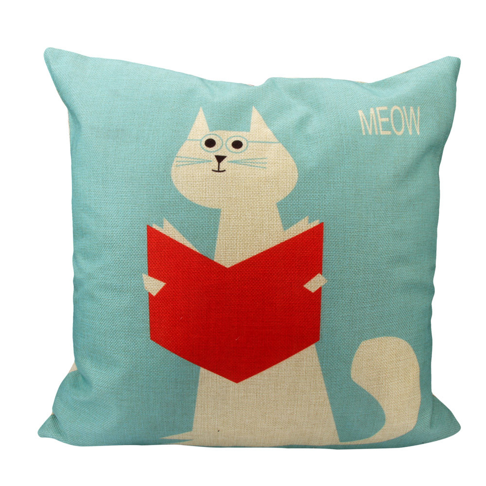"""Meow - cat reading book"" cushion cover"