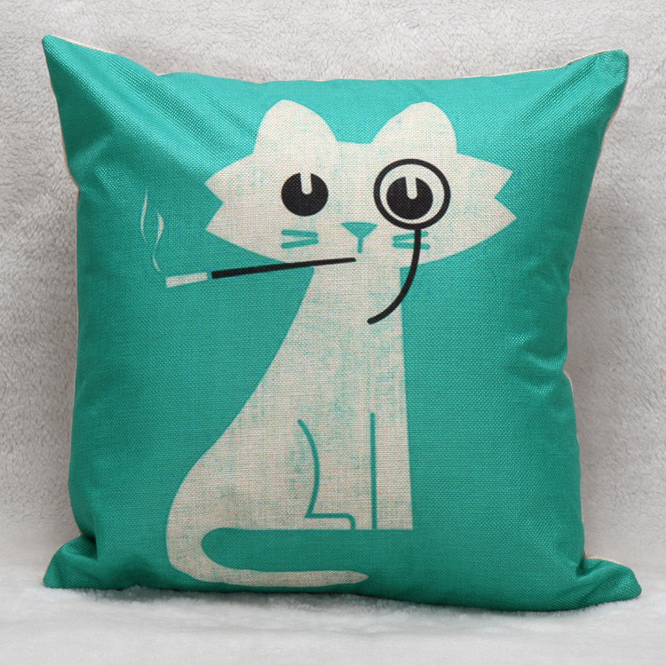 """Smoking kitty"" cushion cover"