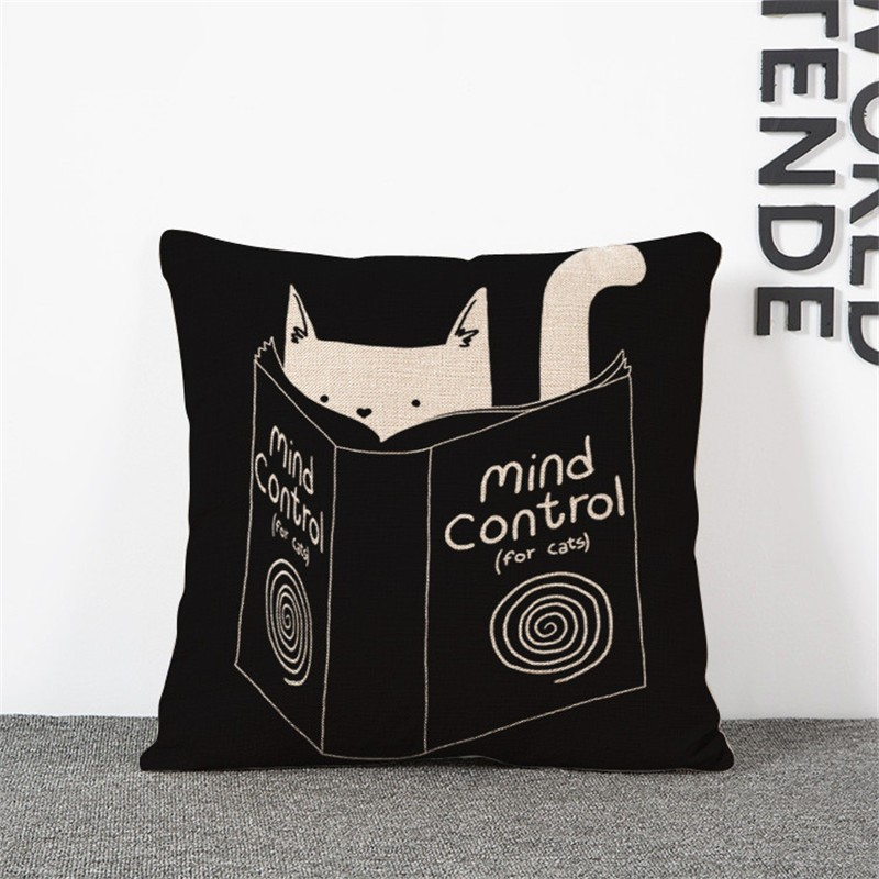 """""""Mind control"""" kitty cushion cover"""