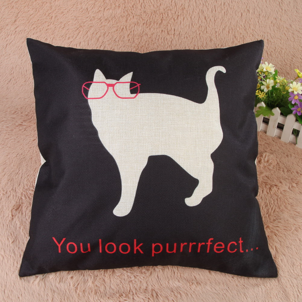 """You look purrrfect"" cushion cover"