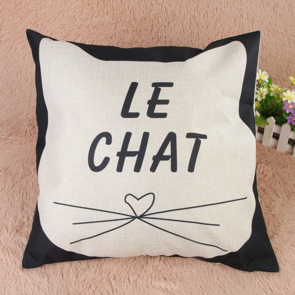 """Le Chat"" kitty face cushion cover"