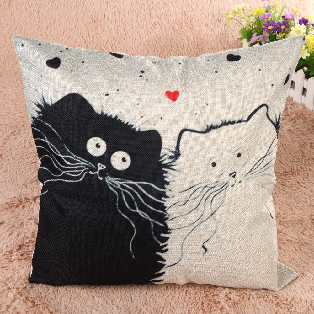 """Cat couple"" cushion cover"