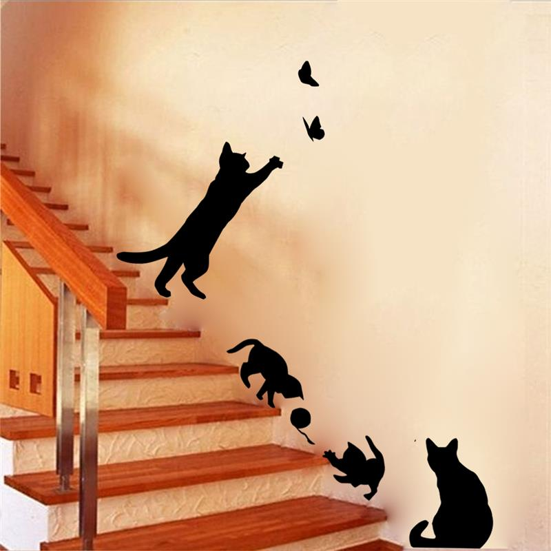 Cats playing wall stickers, set of 4