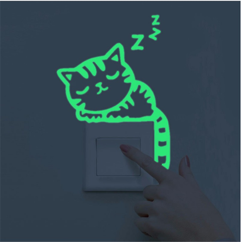 """Sleepy kitty"" glow-in-the-dark wall sticker"