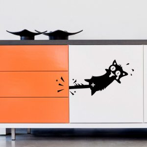 """Cat with stuck tail"" wall sticker"
