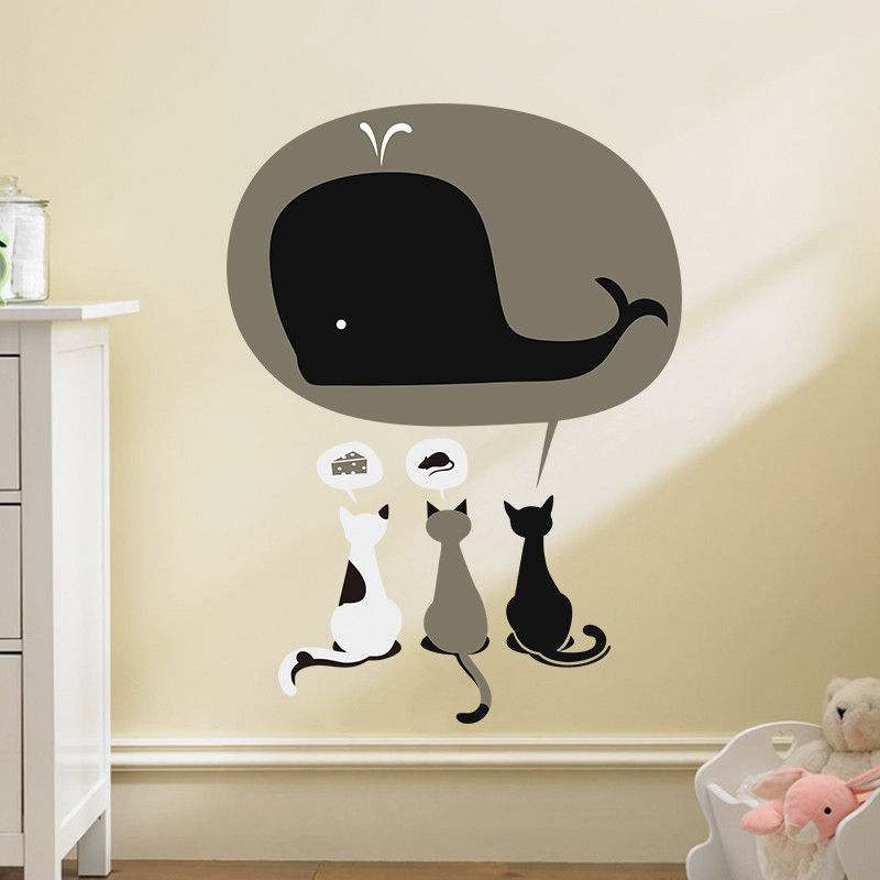 """3 Cats dream about fish"" wall sticker"