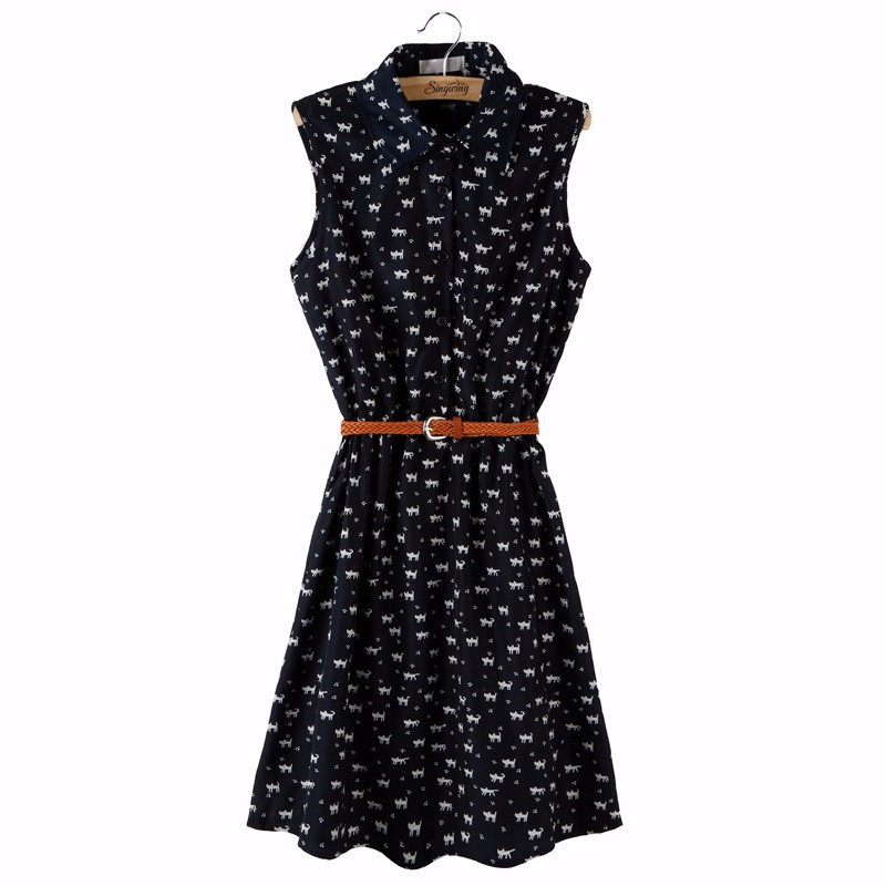 Black shirt dress with cat print and belt