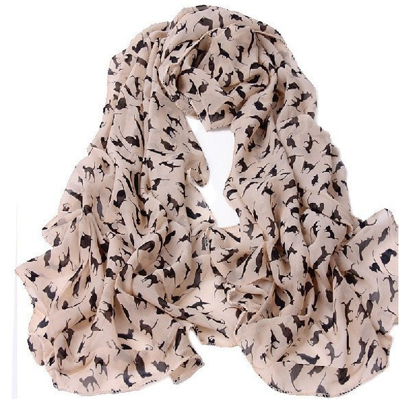 Ladies kitty chiffon scarf - pink