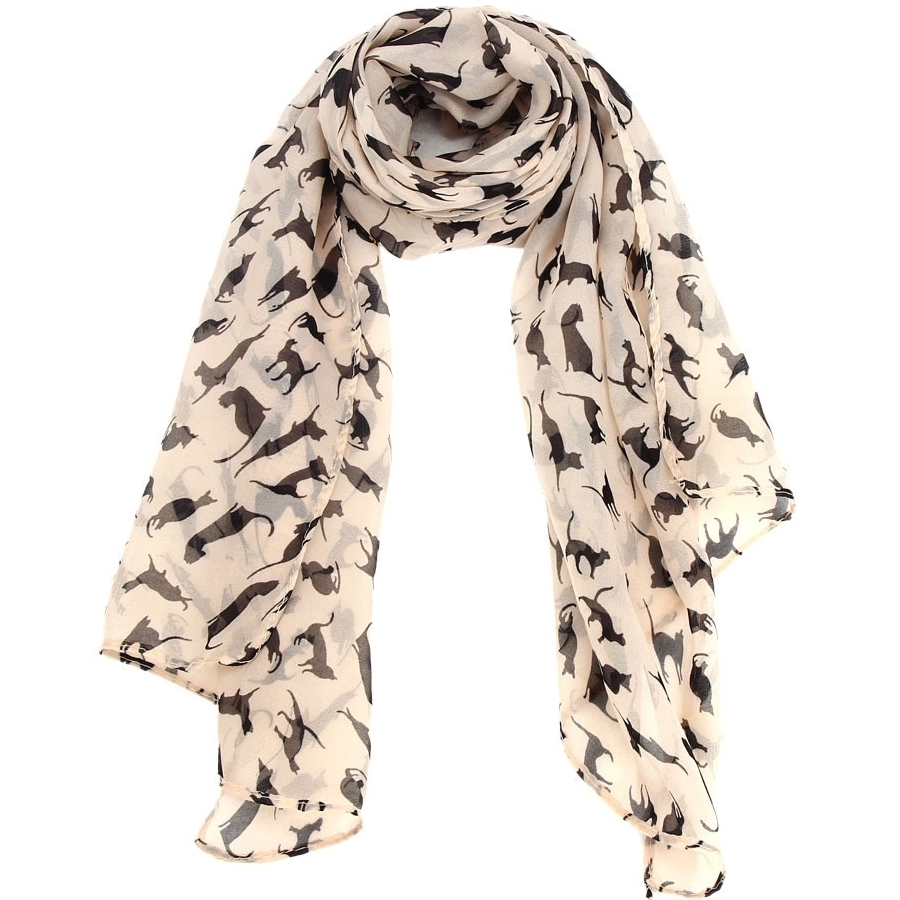 Ladies kitty chiffon scarf - beige