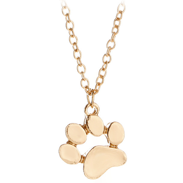 Rose gold cat paw necklace