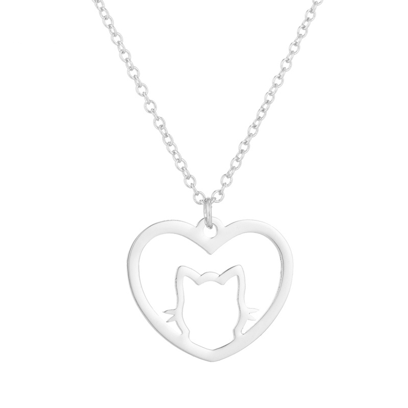Cat in heart pendant