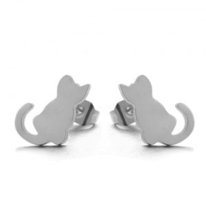 Cat silhouette earrings - grey silver