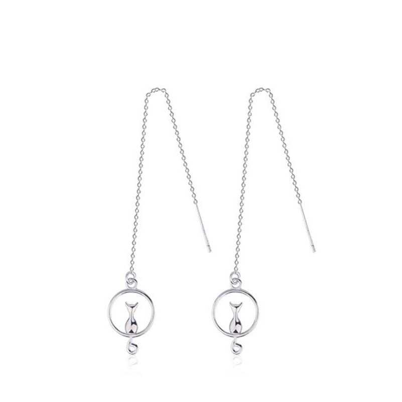 Cat in circle pull-through silver earrings