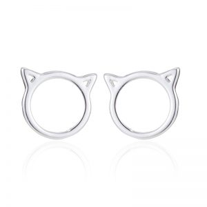 Round cat head with ears silver earrings