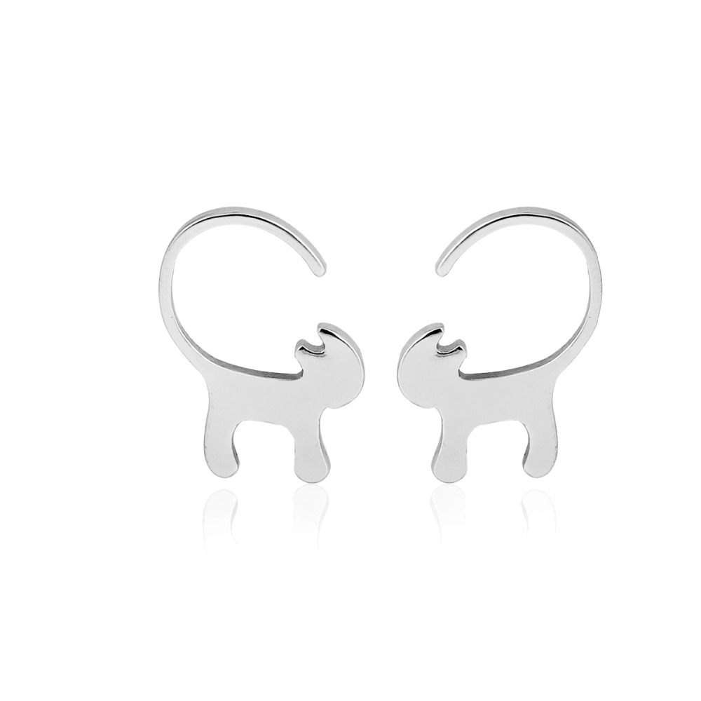 Cat with long tail silver earrings