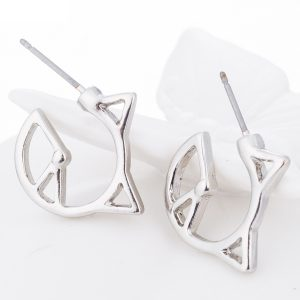 Origami cat silver earrings